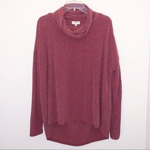 Umgee Cowl Neck Hi/Low Sweater